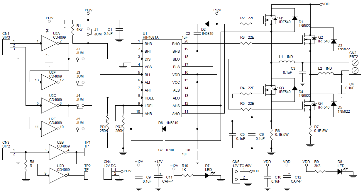 H-BRIDGE USING HIP4081 & 4 N CHANNEL MOSFETS