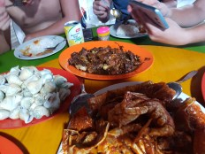 Crab, free range chicken, shellfish