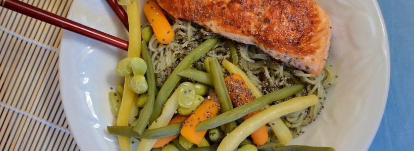 Quick Salmon & Veggie Noodle Bowl
