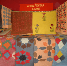 Traditional Kashmiri felted rugs on display at the exhibition.
