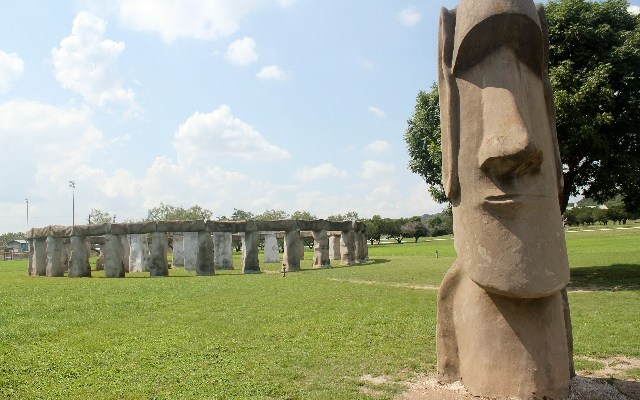 Stonehenge and Easter Island Torso - Ingram, Hill Country, TX.