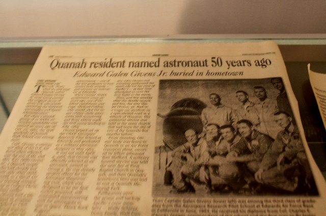 A newspaper clip of Quanah resident who appointed in Apollo mission back in the 1967.