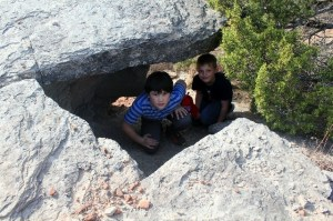 Copper Breaks State Park - Juniper Ridge Nature Trail - boys under the rock
