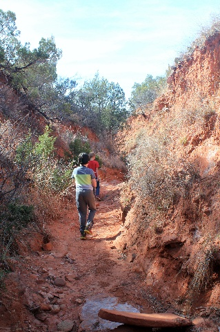 Camping & Hiking Around Texas Panhandle: Caprock Canyons SP: hiking along the gypsum canyon: Two Worlds Treasures