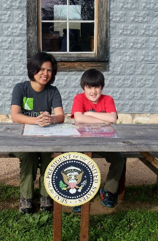 Visiting the Texas White House - LBJ Natl. Historical Park - historic picnic table - Two Worlds Treasures