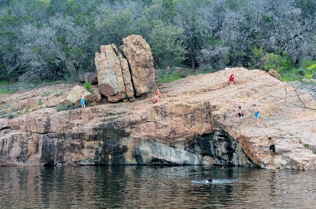 Cliff jumping - Devil's Hole at Inks Lake State Park - Two Worlds Treasures