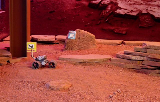 Space Foundation Discovery Center: robotics rover on Martian terrain.