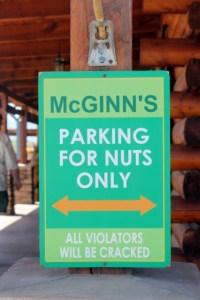Funny parking sign at the World's Largest Pistachio, McGinn's Farm, Alamogordo, New Mexico.