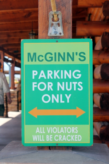 World's Largest Pistachio - Funny parking sign - McGinn's Farm, Alamogordo, New Mexico - Two World's Treasures