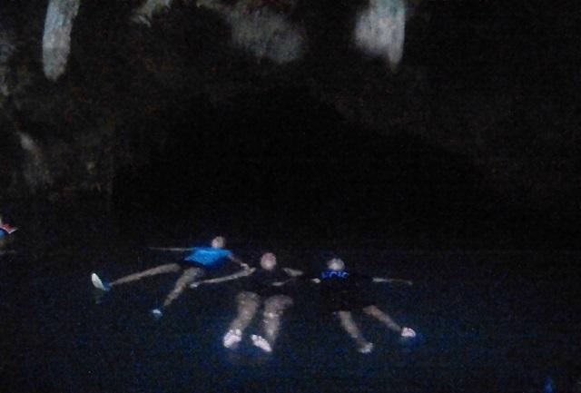 Two Worlds Treasures - floating at Rangko Cave, Lauan Bajo, Flores, Indonesia.