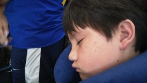 Still in a deep sleep even after we landed at Narita Airport, Tokyo from Dallas.