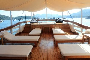 Island Hopping Flores, Indonesia - Day 1 - lounge chairs, upper deck - Two Worlds Treasures