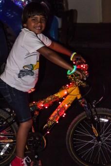 Even bikes had lights on!