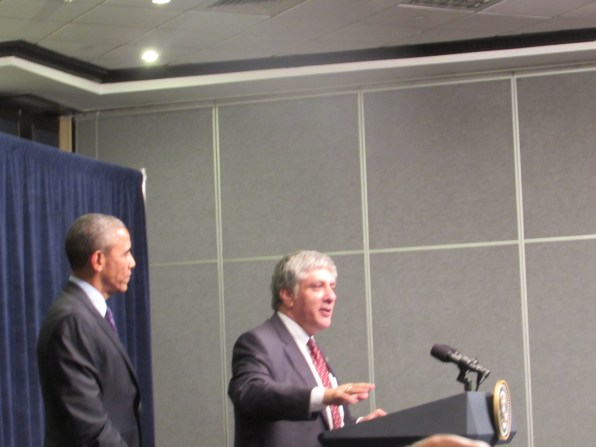 US Ambassador to Jamaica Luis Moreno introducing Mr. Pres