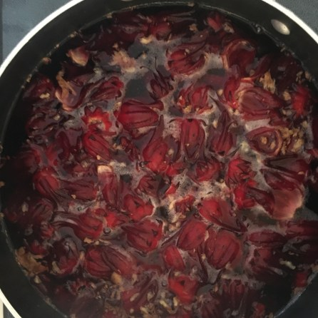 Sorrel and ginger steeping in the water