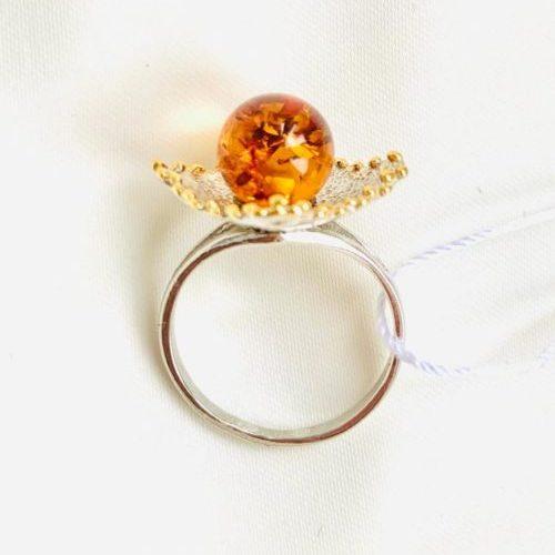 Купить кольцо,Кольцо «Жемчужина Балтики»,кольцо из серебра,с янтарем