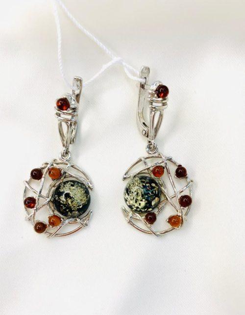 Серьги Янтарь,купить серебряные серьги,TwoZi,Серьги «Лунная ночь»