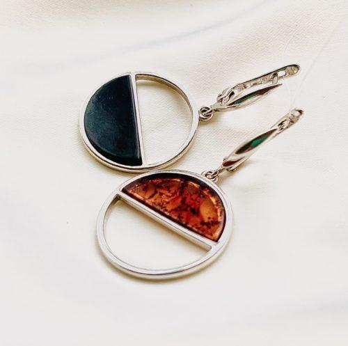 серьги с янтарем в серебре из калининграда