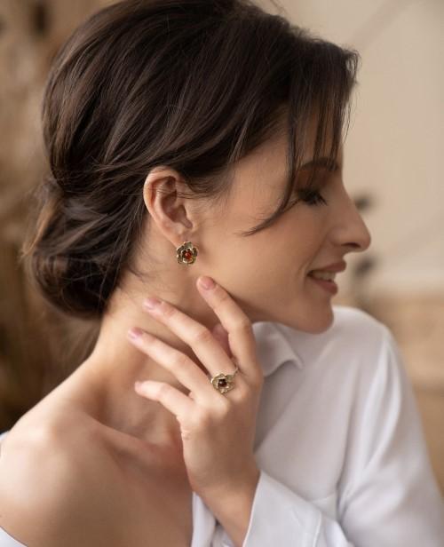Кольцо и серьги из комбинированного серебра Серия Жгучая роза