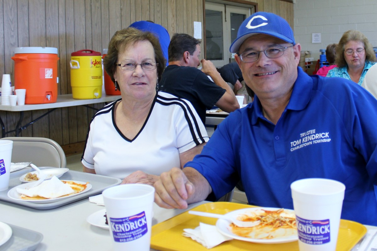Photo of Tom Kendrick and his mother, Sonja, at the Youth Little Pirate Football Association Spaghetti Dinner.