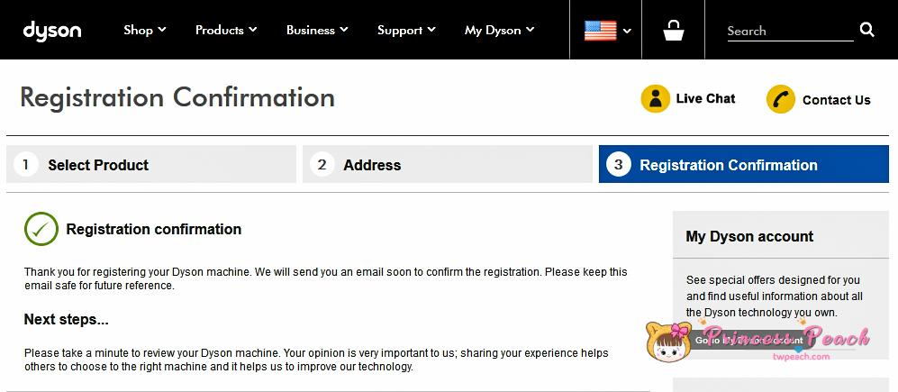 dyson register step
