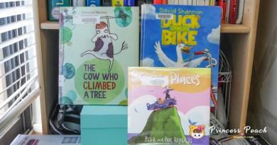 [英文繪本] 2Y 娃的書櫃 – 跳出框架之天馬行空繪本 (Duck on a Bike, The Cow who Climbed a Tree & Going Places)~!!