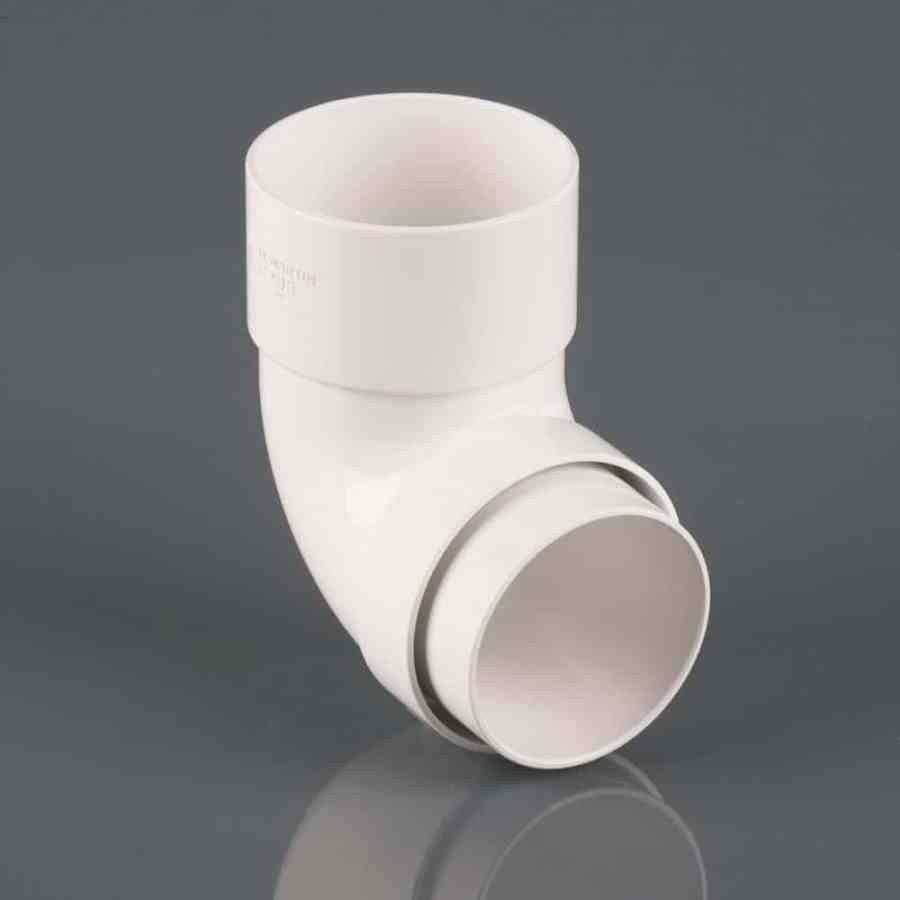 68mm Round Downpipe 112.5' Bend White