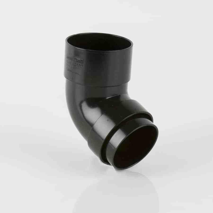 68mm Round Downpipe 112.5' Bend Black