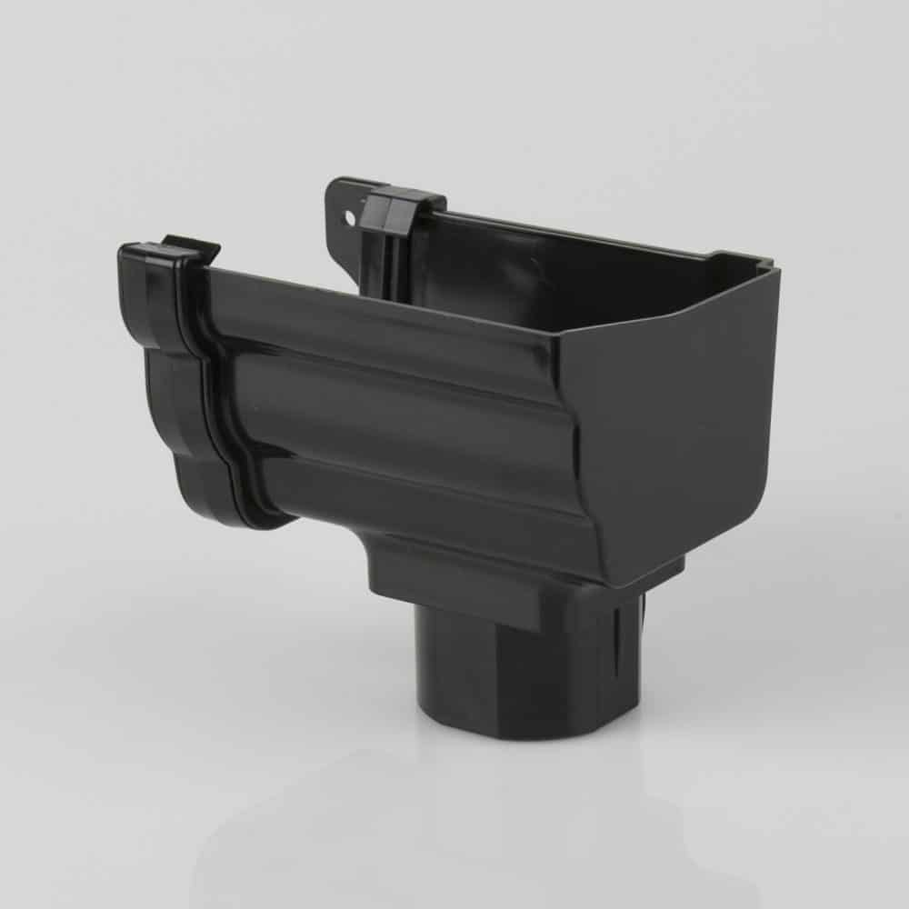 Right Stop End Outlet 106mm Ogee Prostyle Black