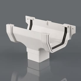 Squarestyle 114mm Running Gutter Outlet White