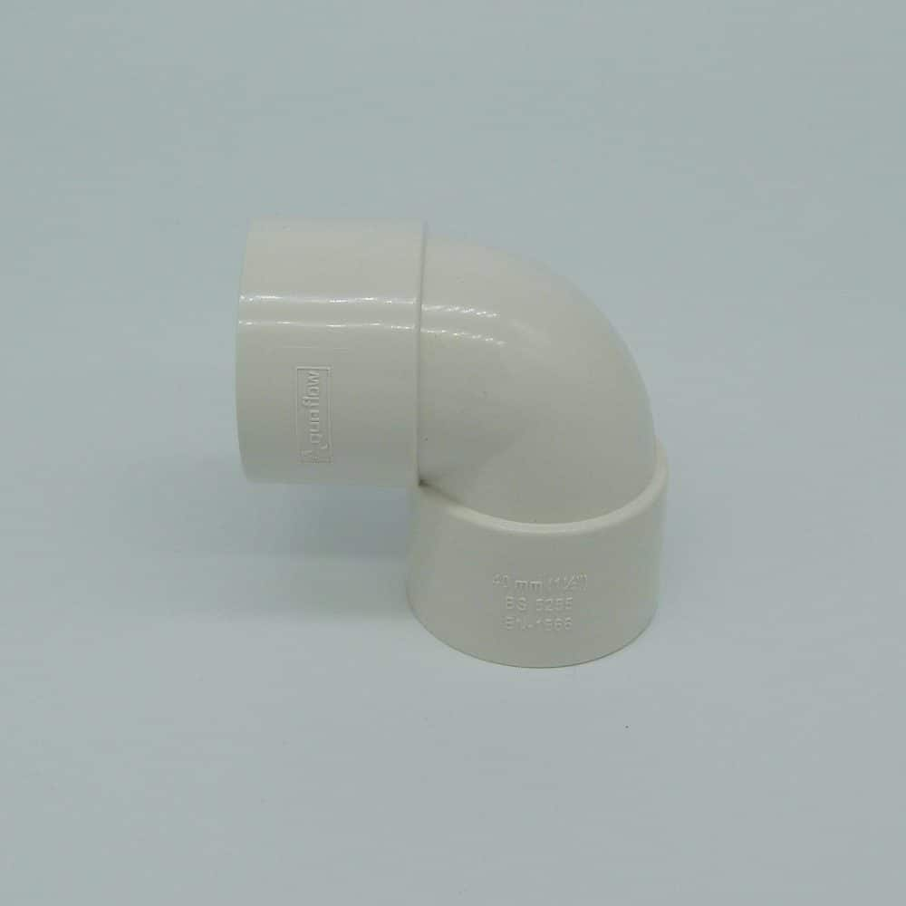 40mm solvent weld 90 tight bend white