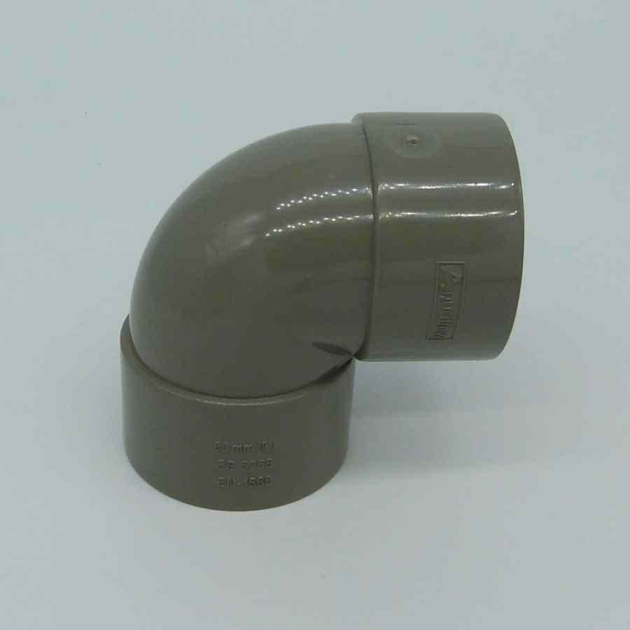 50mm Solvent Weld 90d Knuckle Bend Grey