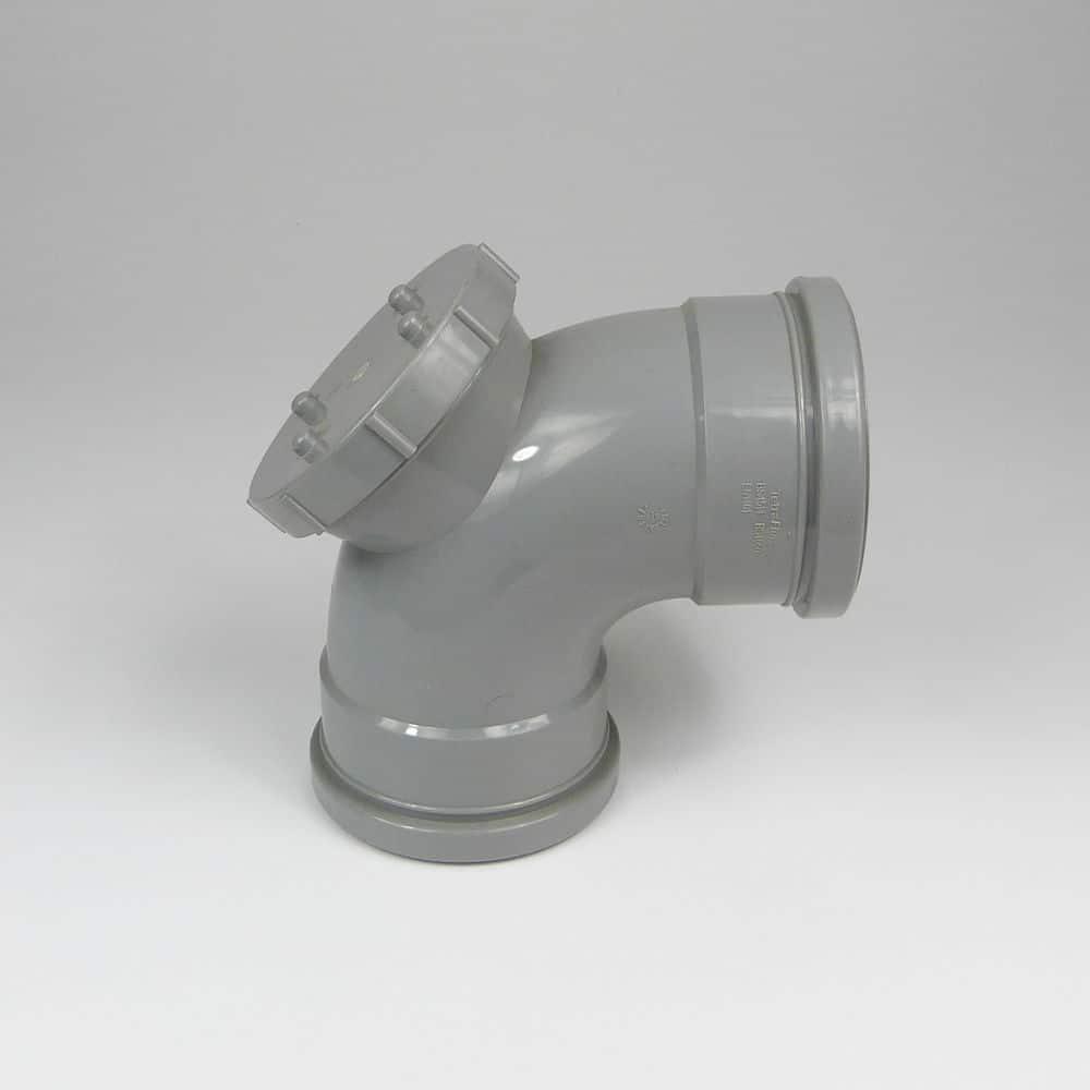 110mm PushFit Soil 90 degree Double Socket Access Bend Grey
