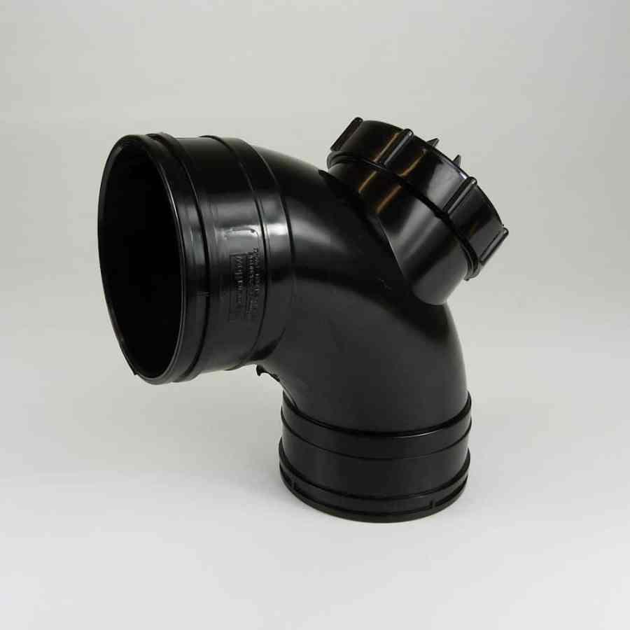 110mm Solvent Soil 90' D/Socket Access Bend Black