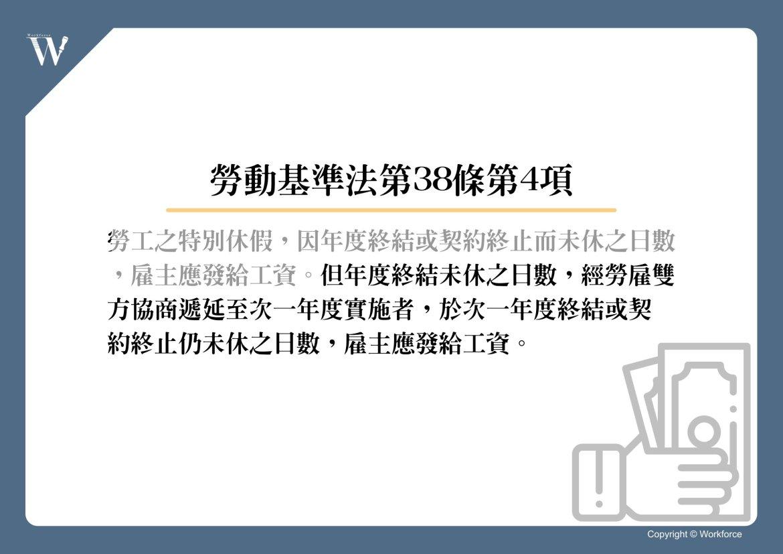 特別休假使用手冊 勞動基準法第38條第4項後段