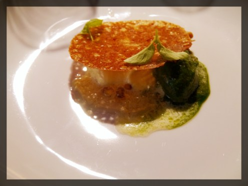 Sweet Corn Custard, Spinach Sorbet with a Pine Nut Cialde and Burnt Corn Glaze.