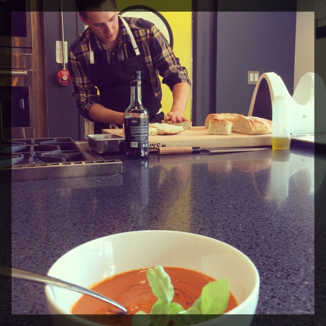 Chef Stephen Baidacoff serves up soup and sandwiches for lunch