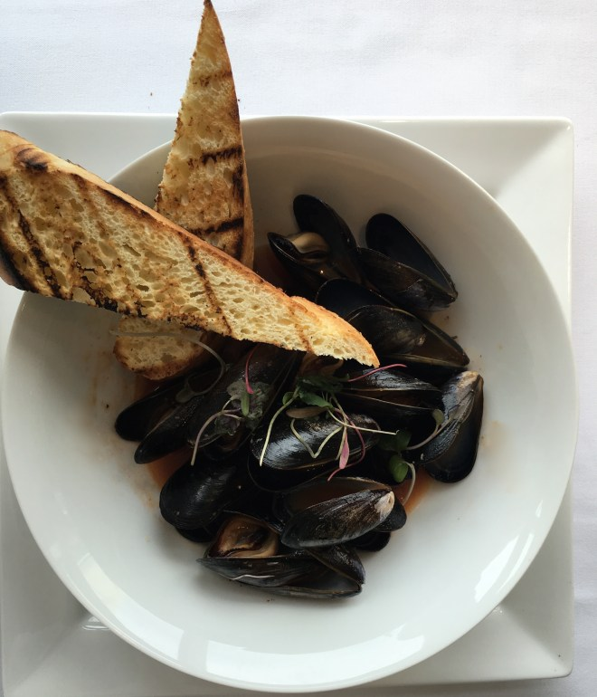 Mussels in 'made in house' clamato broth