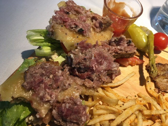 1st visit: Looking for a morsel of cooked meat in my raw burger