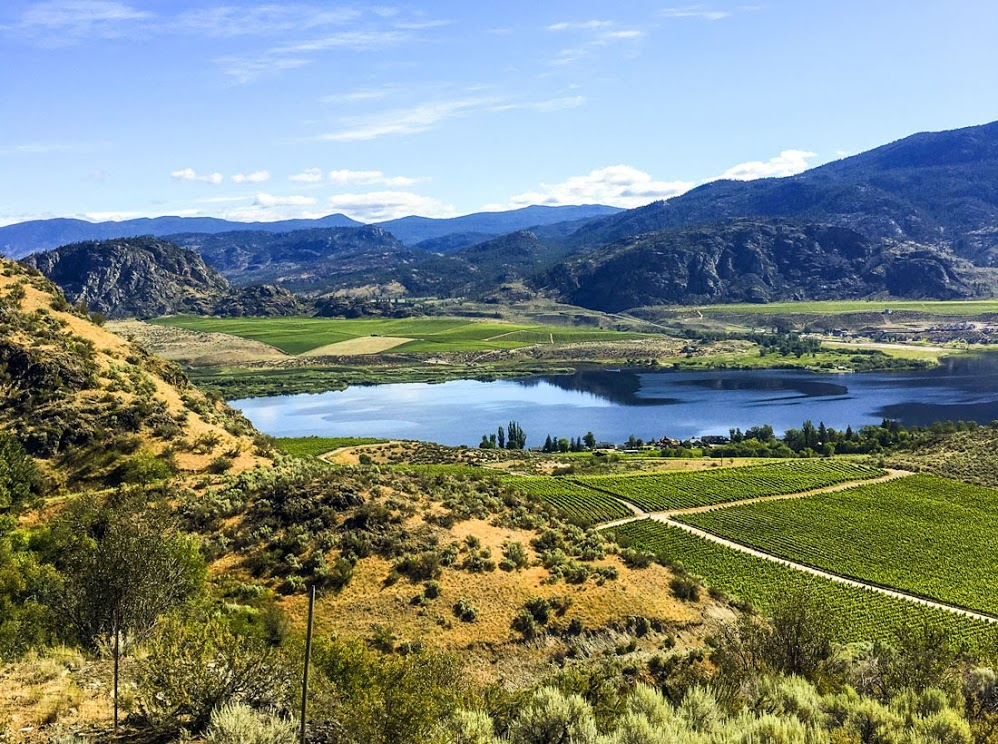 Farmlands and rolling hills of British Columbia's South Okanagan, Canada. Morgan Sommerville, Serena PR.