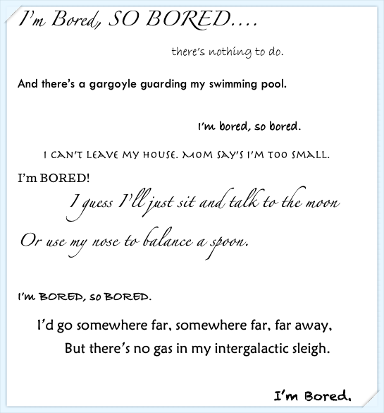 I'm Bored – a poem for kids (and parents!) in the time of COVID-19