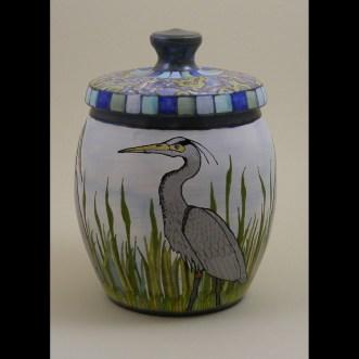 Blue Heron Jar