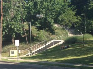 21. I'm walking up the street back to my apartment; this is another shot of the STAIRS heading up to the Katy Trail which is up about the height of a three story building. The trail is HIGHER than me when I'm standing on the second floor balcony that was in one of the earlier shots.