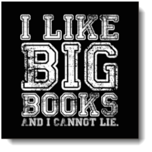 """I like Big Books"" has white text, uses a grunge font, reminiscent of sports teams and produces a very ""urban"" look & feel (chose your background color)"