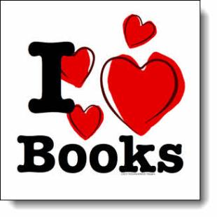 "This ""I love books"" design has elements of grunge and a touch of playful youth. Featuring four stylized pure red hearts with overlying bold strokes of black"