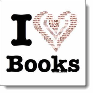 "This ""I love books"" design has a heart made by using the word ""Heart"" written in san serif font, in red & black, arranged to create the shape of a heart"