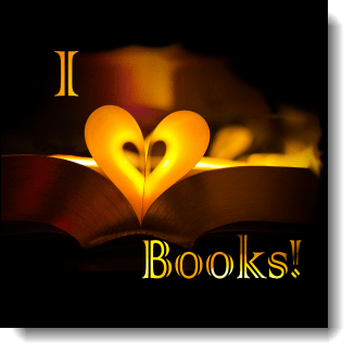 """This design with its folded pages to create the ♥ in """"I love books"""" is filled with warm golds, yellows, and browns, making it the perfect for a bibliophile."""