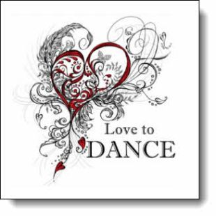 """A beautifully detailed heart design in scroll style line art with """"Love to DANCE"""" text, accented with red, is perfect for any type of dancer who loves to DANCE."""