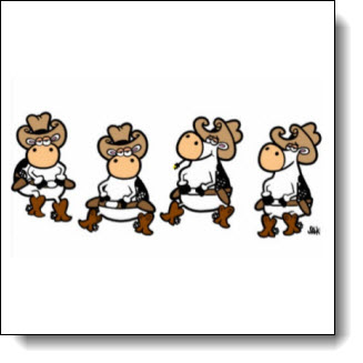 Linedancing cows It's a little silly, it's a little corny and its a LOT of fun! Linedancing Cows! - Farside Cartoon Tribute - A perfect gift for your favorite line dancer!