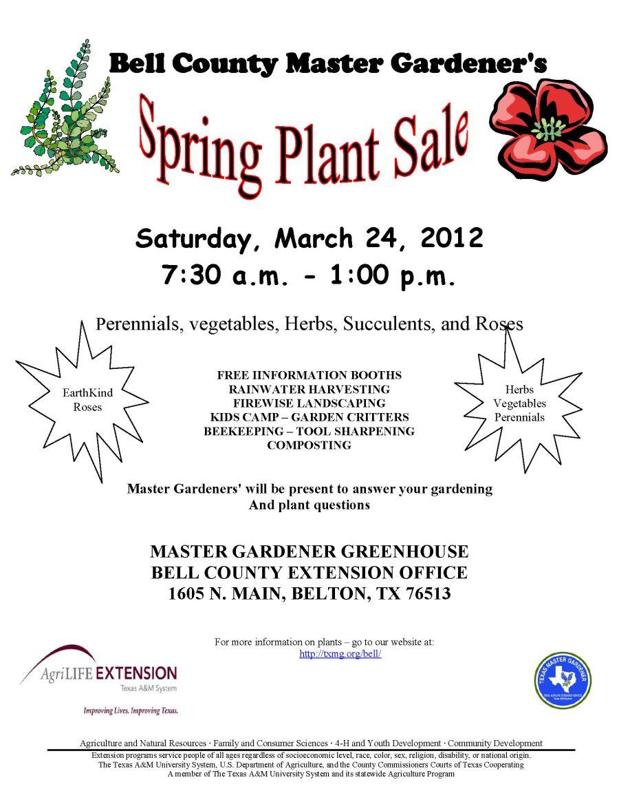 2012 Spring plant sale flyer | Bell County Master Gardener
